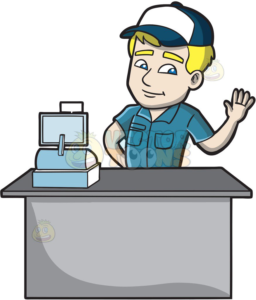 875x1024 A Friendly Fast Food Cashier Employee Cartoon Clipart