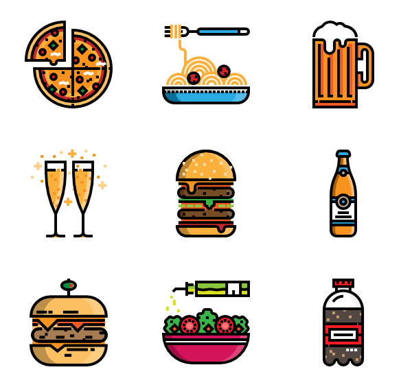 600x564 Fast Food Icons