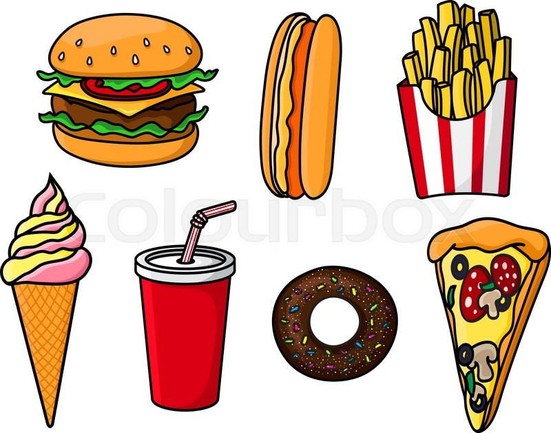 800x629 Fast Food Seamless Pattern Of Seafood, Snacks And Desserts. Vector
