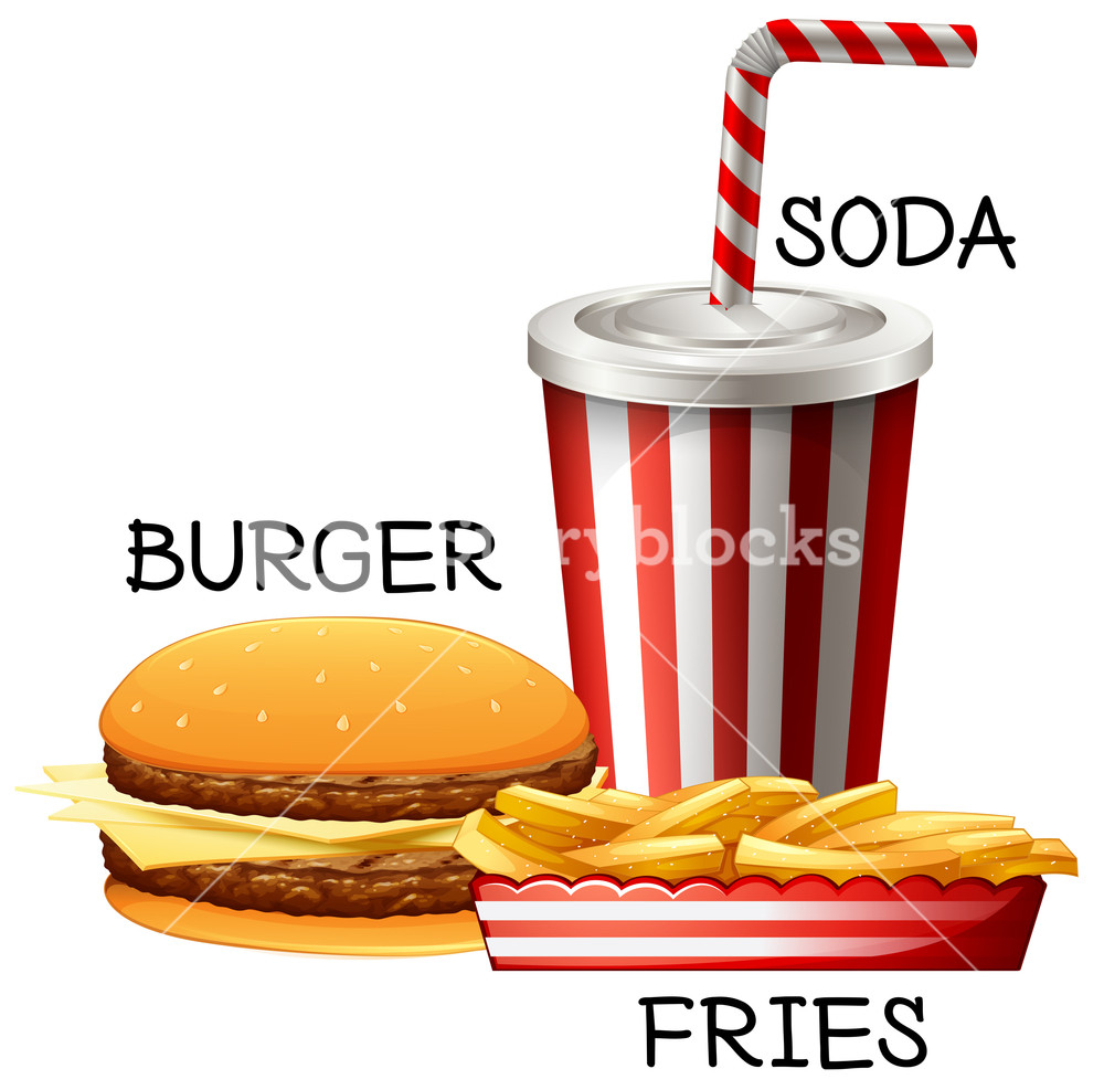 1000x987 Fastfood Set With Burger And Fries Illustration Royalty Free Stock