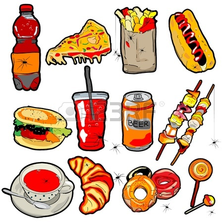 450x450 Hand Drawn Scary Fast Food Elements For Halloween Decoration