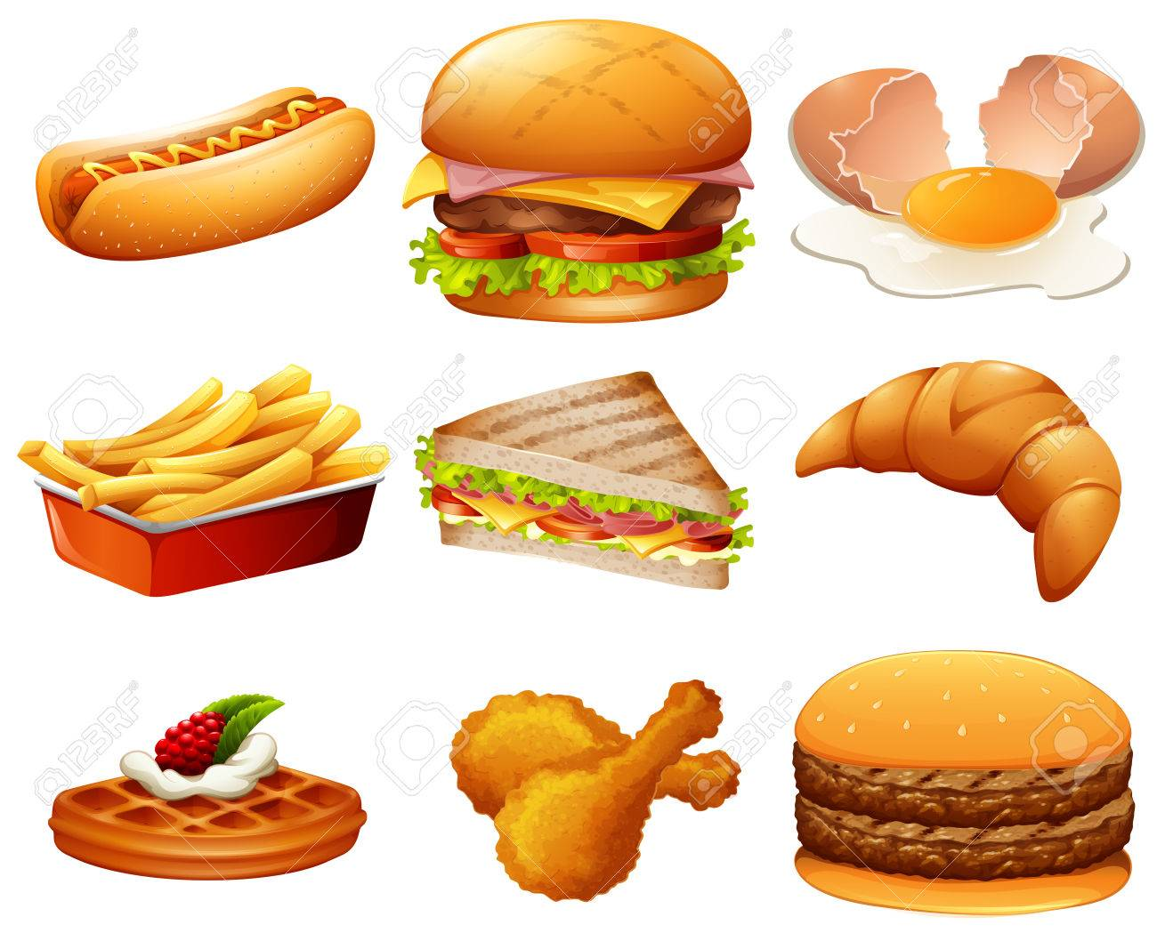 1300x1049 Different Kind Of Fastfood Illustration Royalty Free Cliparts