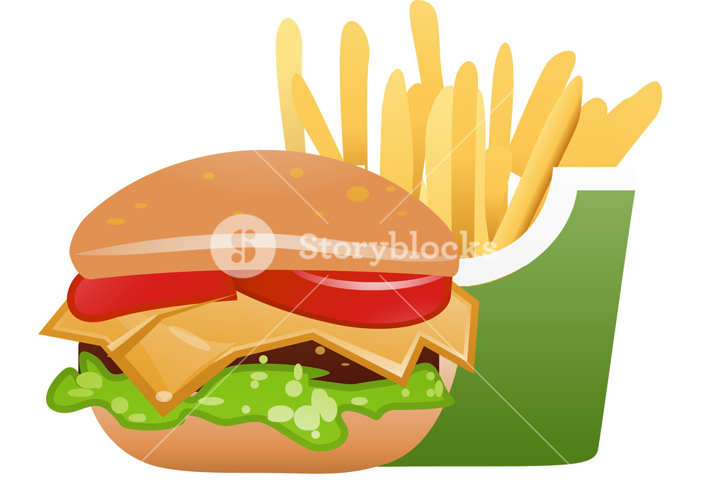 1000x706 Fast Food Cheeseburger And Fries Royalty Free Stock Image