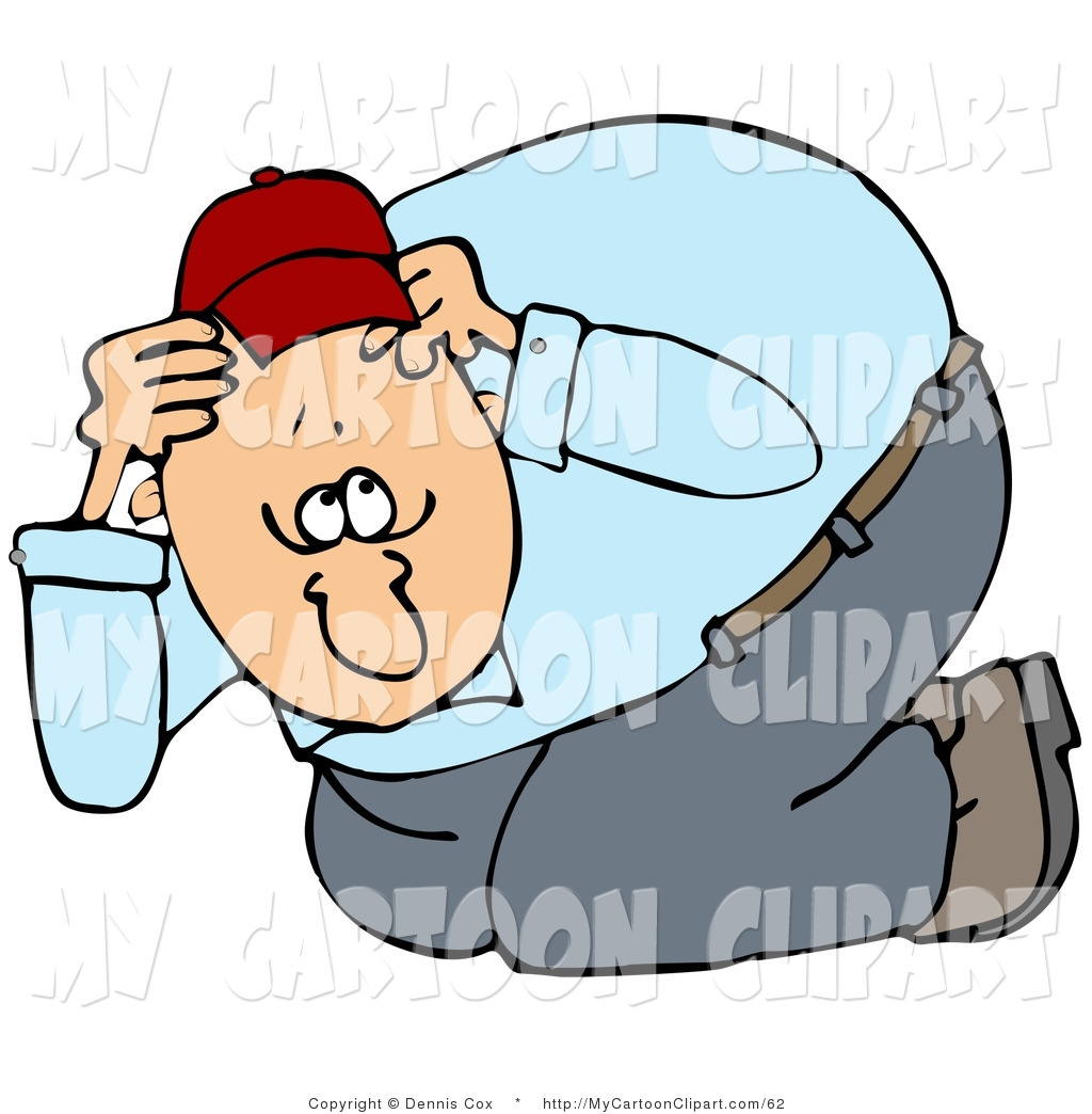 1024x1044 Clip Art Of A Nervous Fat Man Taking Cover, Crouching And Covering