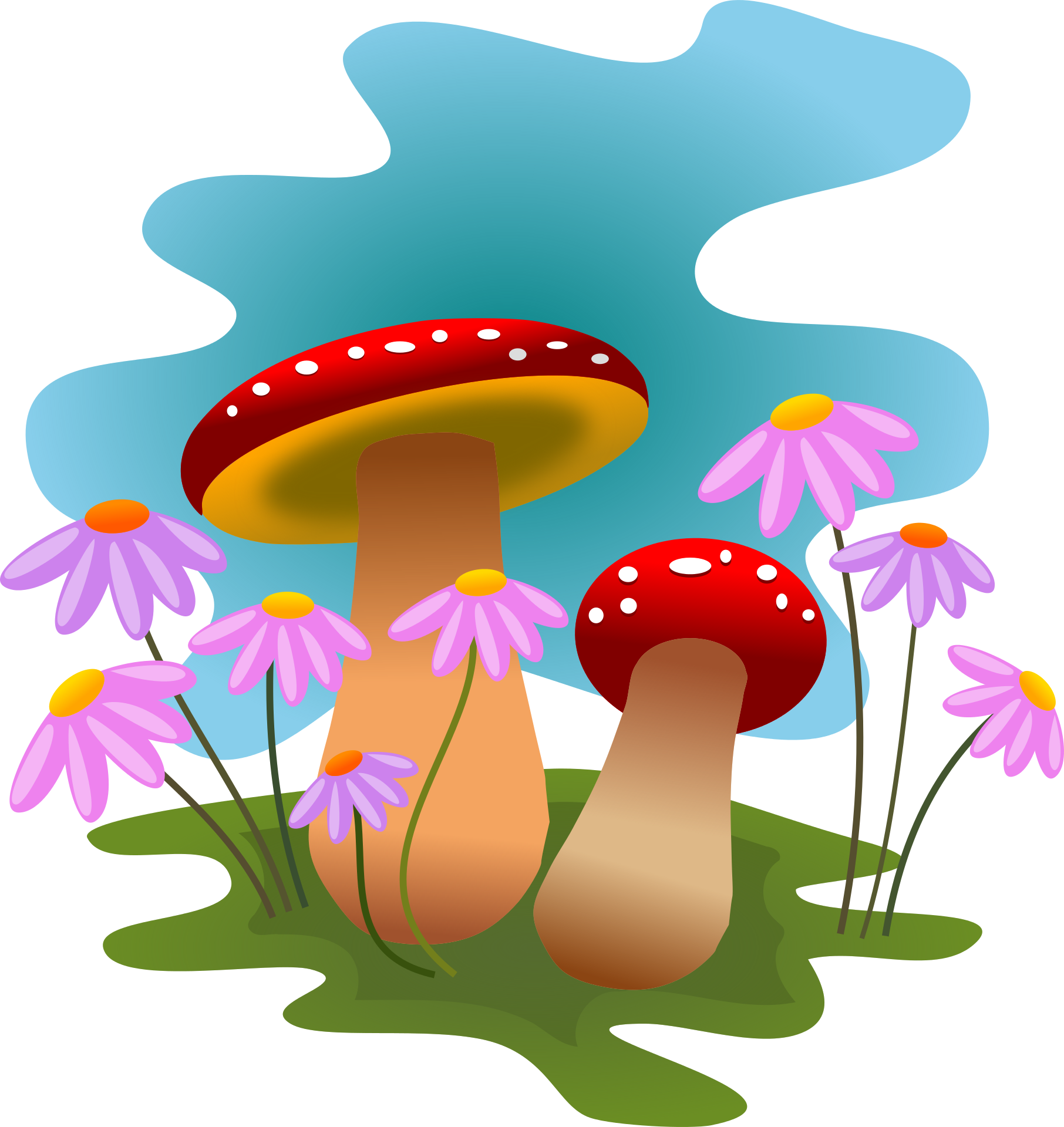 1812x1920 Mushrooms And Flowers Clipart 1812x1920 Clip Art Everyday