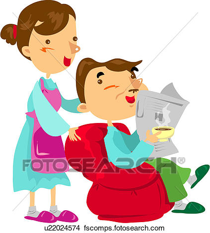 423x470 Clipart Of Sofa, Mother, House, Weekend, Holiday, Father U22024574