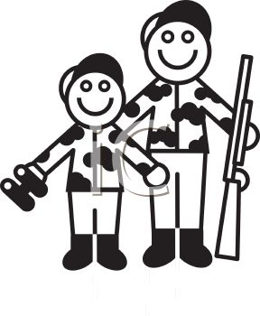 288x350 Royalty Free Clip Art Image Father And Son Going Hunting
