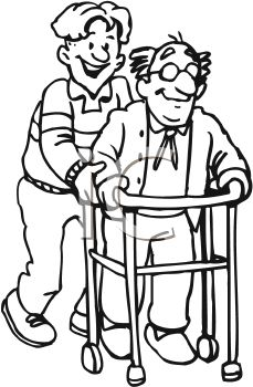 229x350 Black And White Cartoon Of A Man Helping His Elderly Father