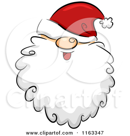 450x470 Cartoon Of A Happy Bearded Santa Face With His Hat Over His Eyes