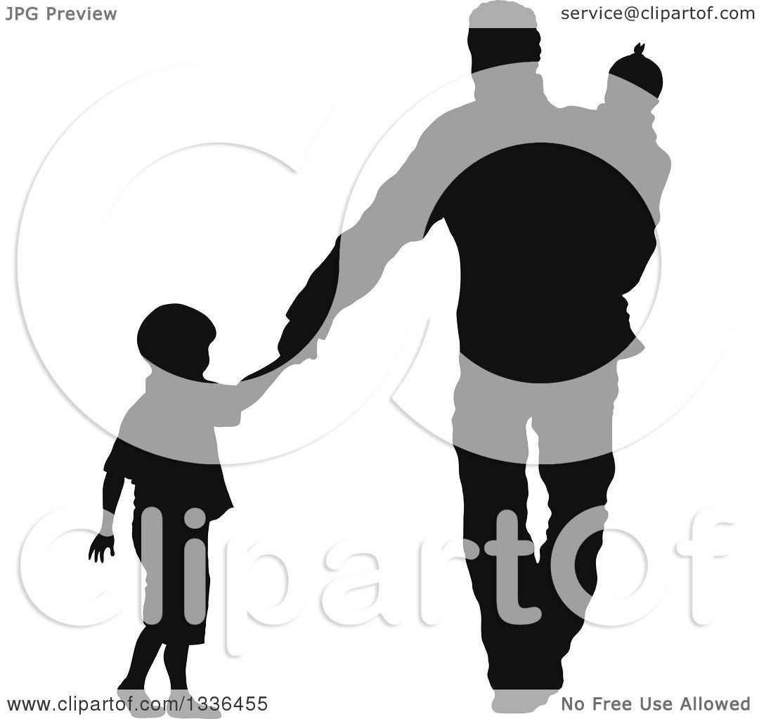 1080x1024 Clipart Of A Black Silhouette Of A Son Holding Hands And Walking