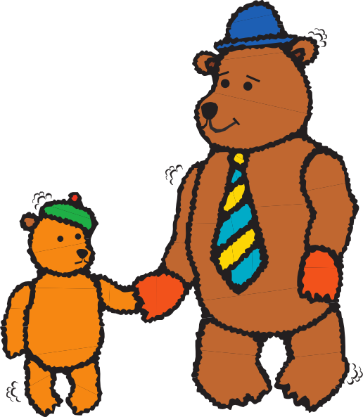 516x593 Father And Child Bear Walking Clip Art