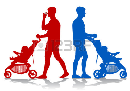450x315 Father Walking With A Baby In A Stroller Royalty Free Cliparts