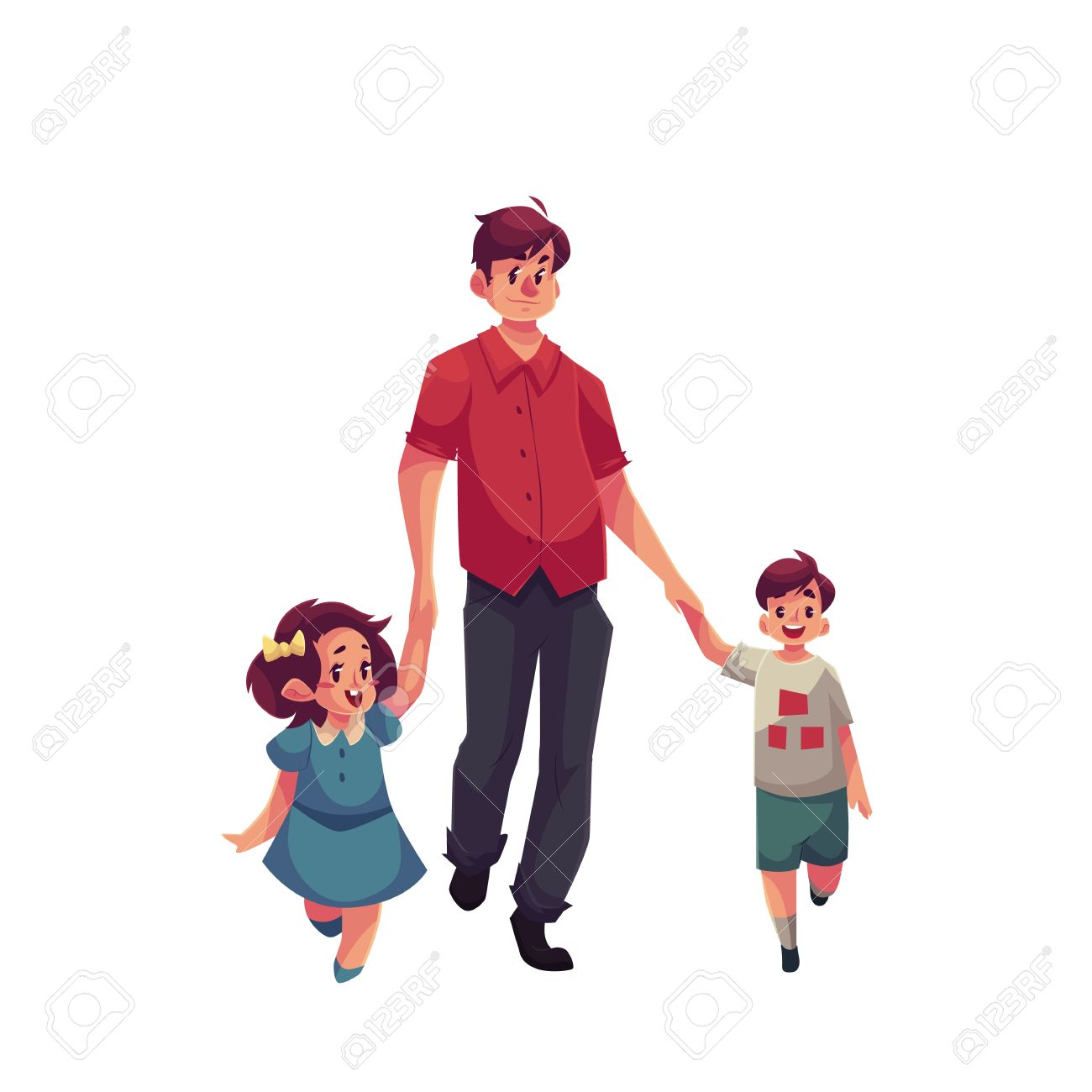 1300x1300 Father With Daughter And Son Walking Together, Cartoon Vector