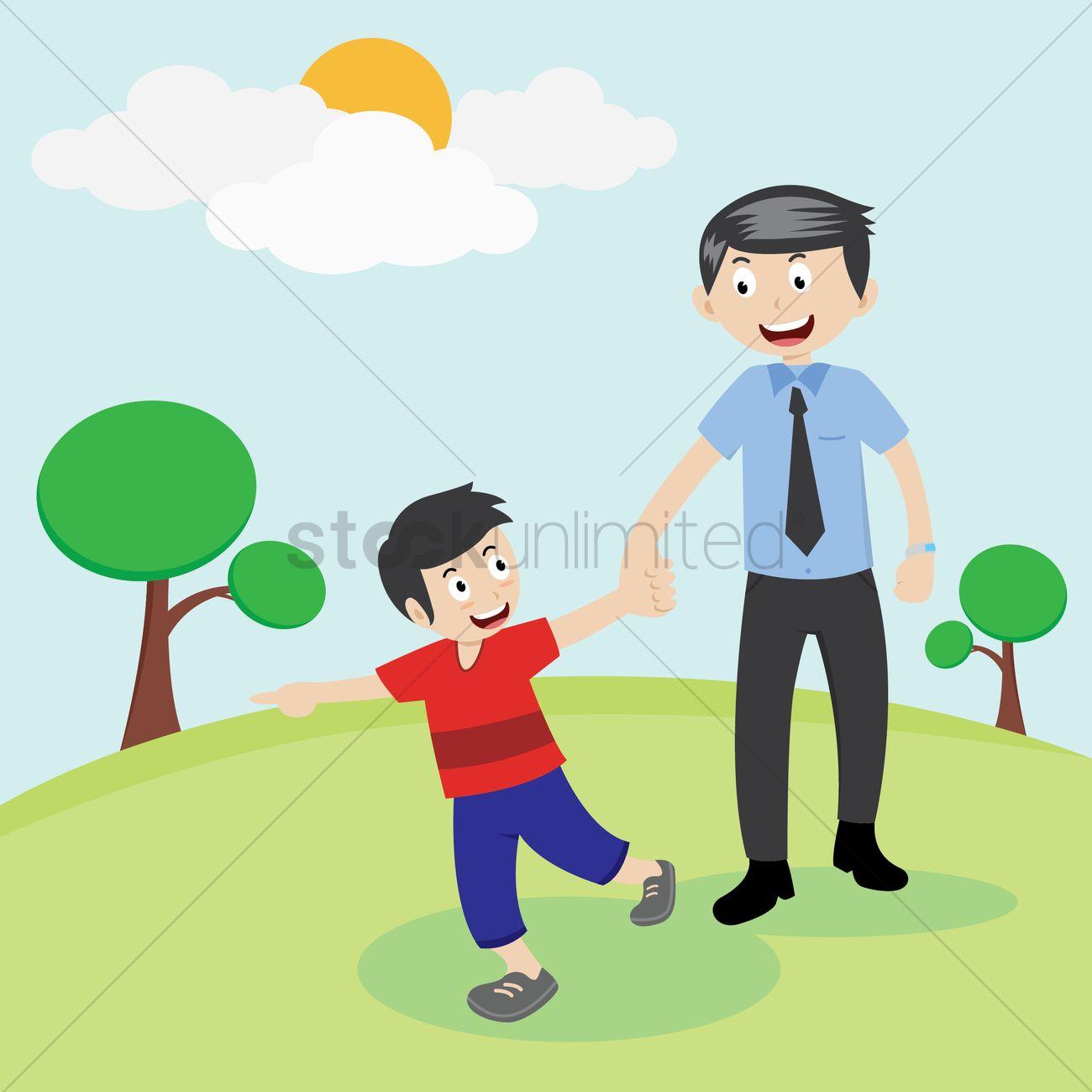 1300x1300 Father And Son In Park Vector Image