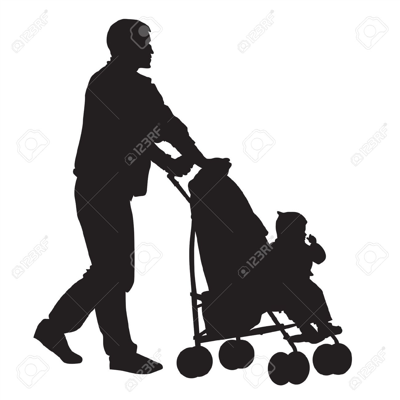 1300x1300 Vector Clipart Family On A Walk With Stroller Silhouette