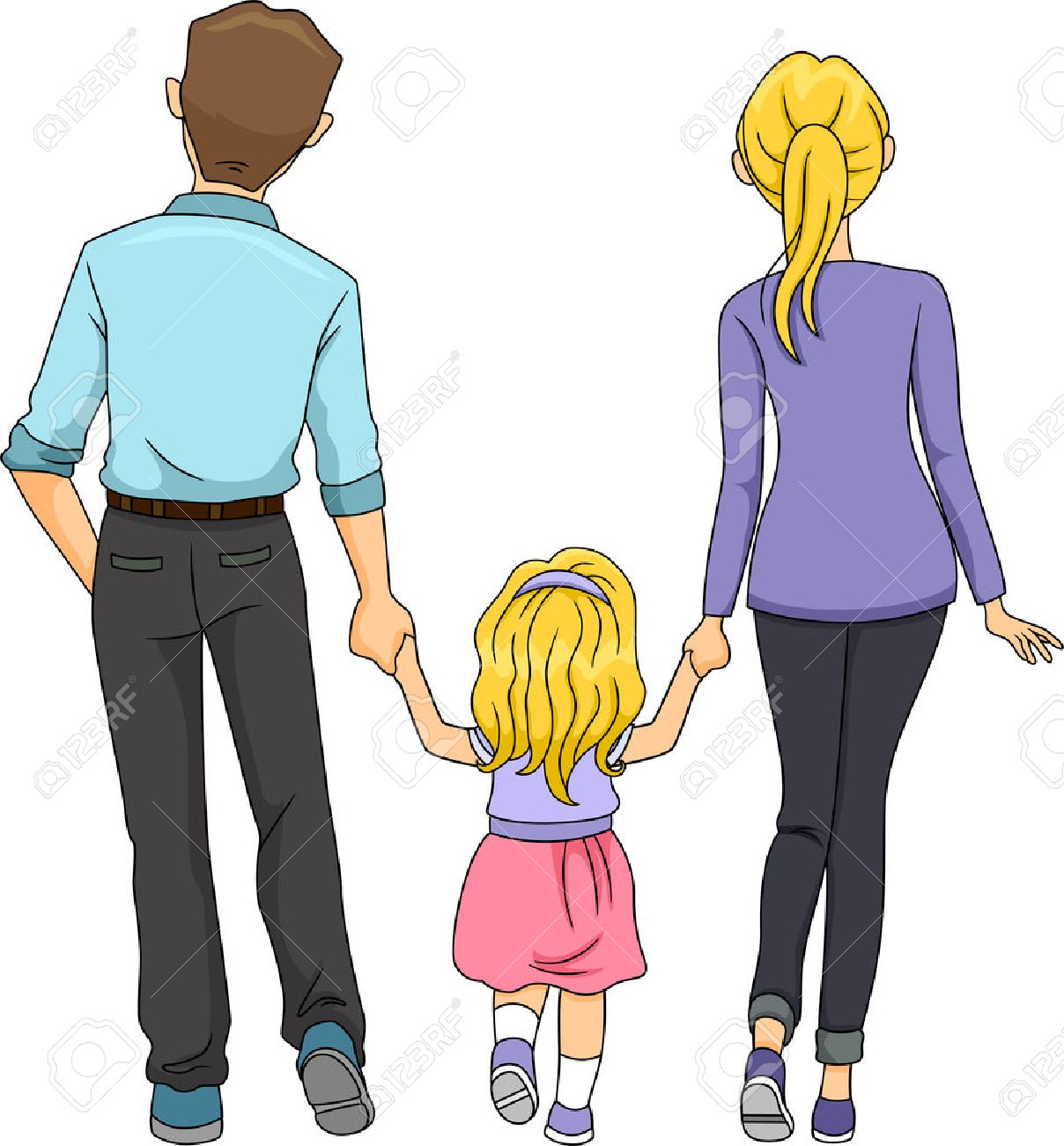 1208x1300 Back View Illustration Of A Family Walking Together Royalty Free