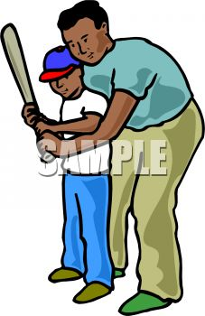 227x350 Black Dad Teaching His Son To Use A Bat