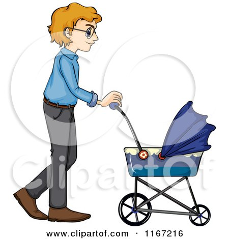 450x470 Cartoon Of A Father Walking With A Baby Stroller