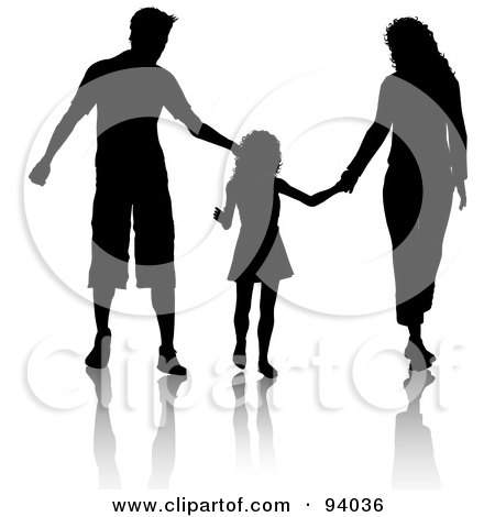 450x470 Clipart Of A Silhouetted Boy Holding Hands With A Man, Father