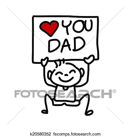 450x470 Clipart Of Happy Father's Day Cartoon Hand Drawing K20580352