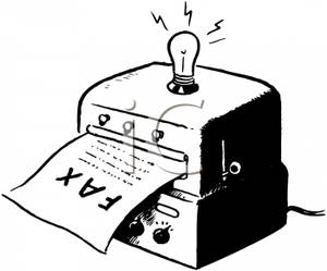 300x249 Old Fashioned Fax Machine With A Lightbulb Clip Art Image