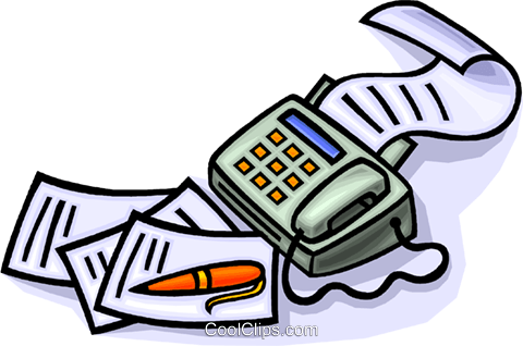 480x318 fax machine with pen and paper Royalty Free Vector Clip Art