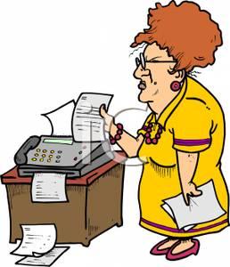 258x300 Art Image A Grumpy Secretary Sending Faxes