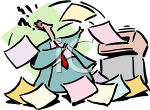 300x220 Fax Machine Spitting Out Papers At A Businessman Clip Art Image