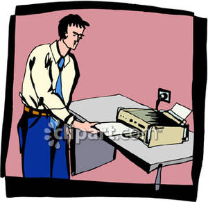 300x291 Receiving A Fax From A Fax Machine Royalty Free Clipart Picture