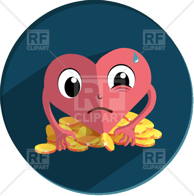 396x400 Heart Character In Fear And Greed Royalty Free Vector Clip Art