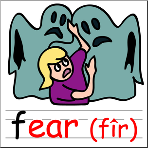 304x304 Clip Art Basic Words Ear Phonics Fear Color I