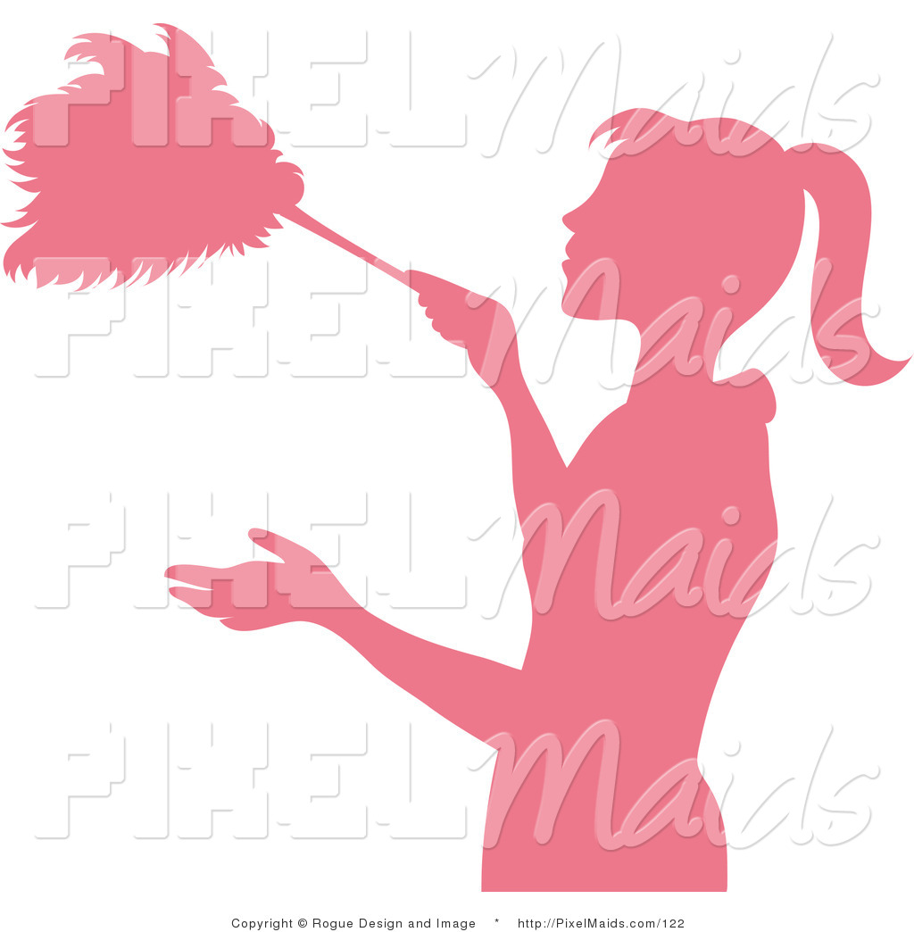 1024x1044 Clipart Of A Pink Silhouetted Housekeeper Dusting With A Feather
