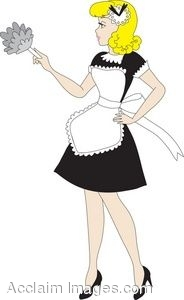 184x300 Clip Art Picture Of A Retro French Maid With A Feather Duster