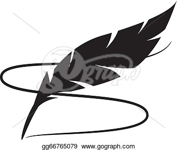 350x296 Feather Outline Single Clipart