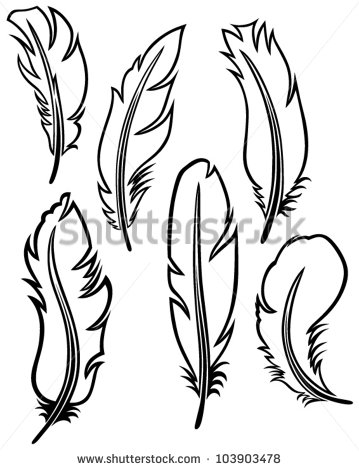 359x470 Feather Outline Clipart