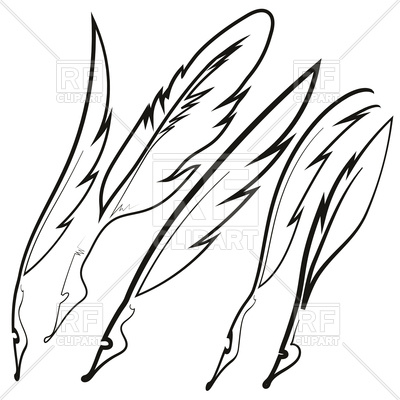400x400 Set Of Different Sketched Feathers Royalty Free Vector Clip Art
