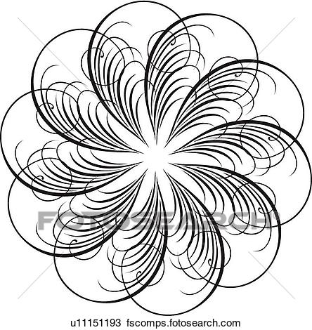 444x470 Clipart Of Calligraphic Design Of Feathers In A Circle U11151193