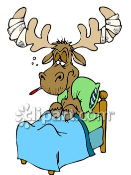 263x350 Moose Sick In Bed Clipart