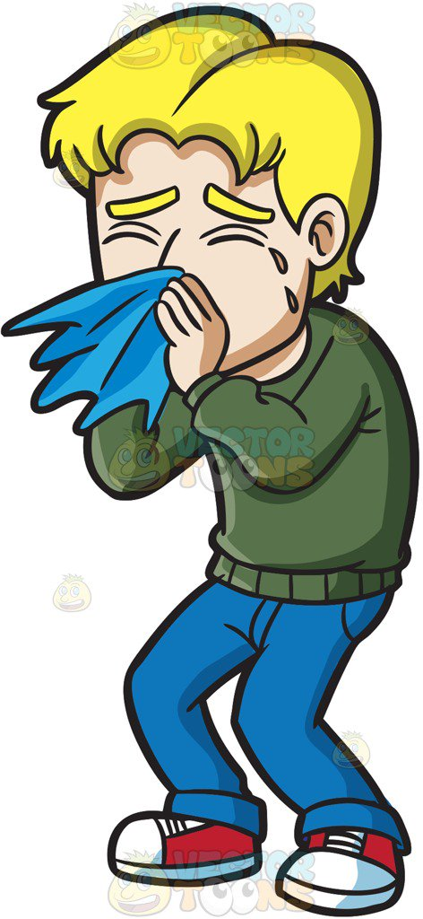 472x1024 A Guy Blowing His Nose Cartoon Clipart