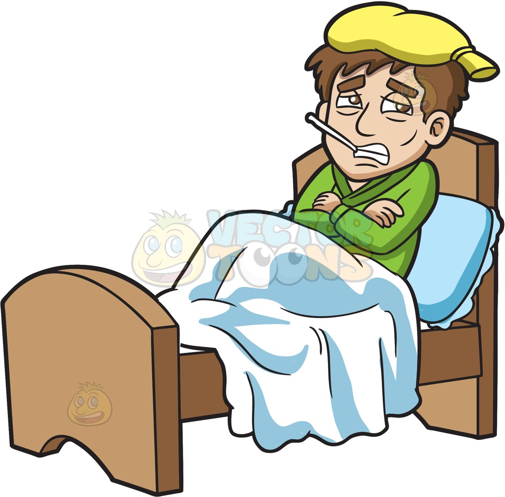 1024x1008 A Shivering Sick Guy Resting In Bed Cartoon Clipart