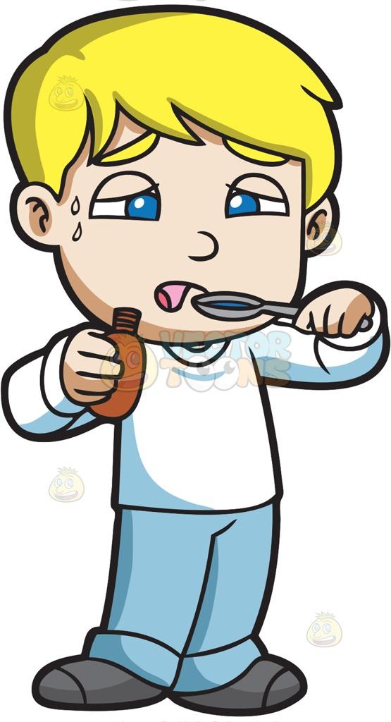 555x1024 A Sick Boy Taking A Spoonful Of His Medicine Cartoon Clipart