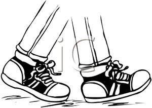 300x213 Black And White Running Shoes Clipart