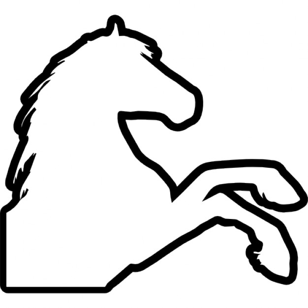 626x626 Horse Raising Feet Outline Right Side View Icons Free Download