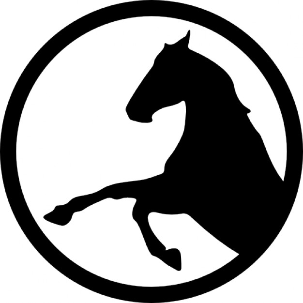 626x626 Horse Raising Front Feet Inside A Circle Outline Icons Free Download