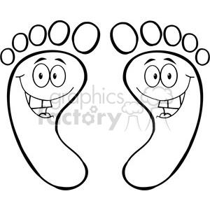 300x300 Royalty Free Happy Feet Outline Cartoon 384333 Vector Clip Art
