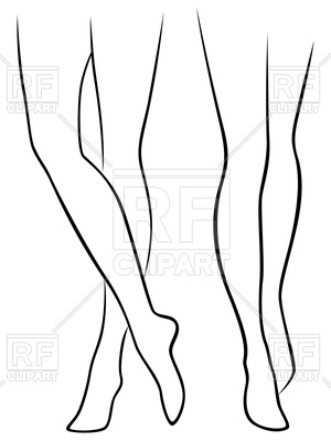 300x400 Slender Female Bare Feet, Outline Royalty Free Vector Clip Art