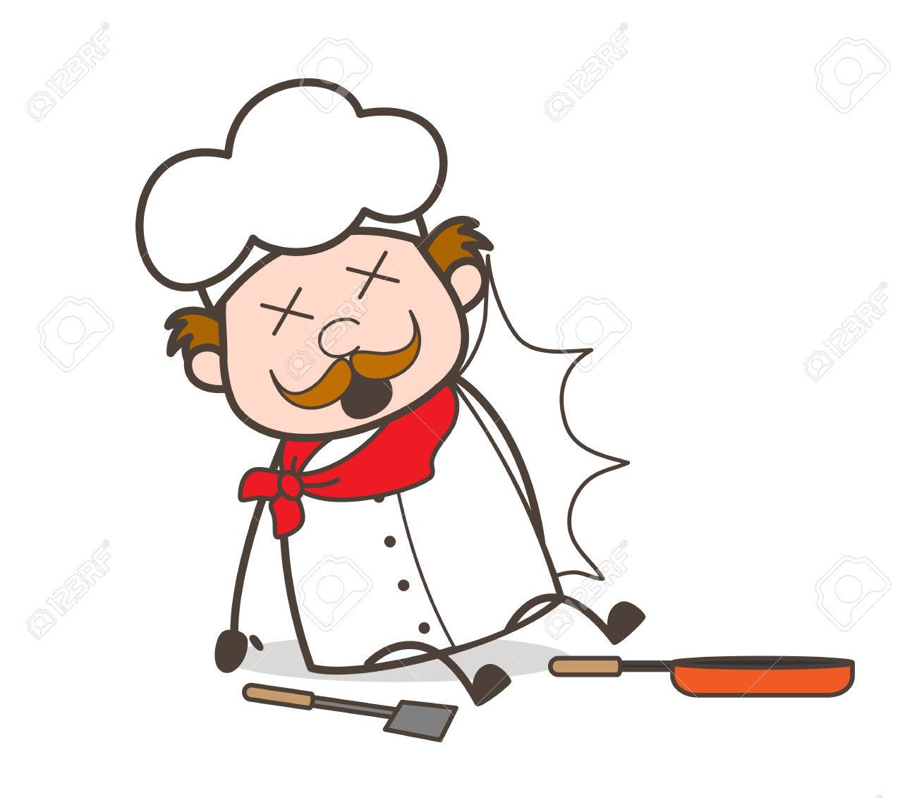 1300x1131 Cartoon Chef Fell Down With Kitchen Utensils Vector Royalty Free