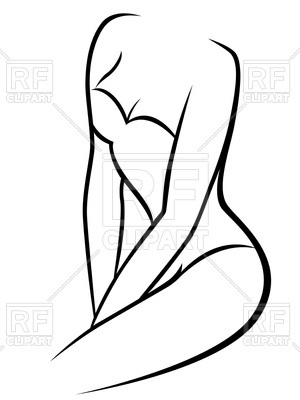 300x400 Female Body In Underwear Corset Outline Royalty Free Vector Clip