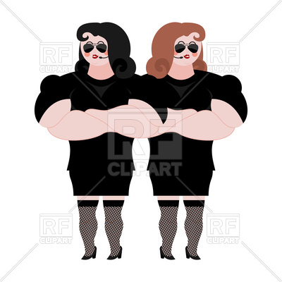 400x400 Female Bodyguard Couple. Strong Women. Royalty Free Vector Clip