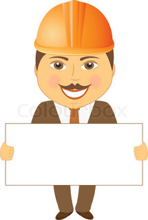 215x320 Cartoon Smile Afro Builder Engineer With Blank For Text Stock